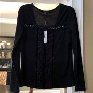 New Panitti black dressy sweater blouse M